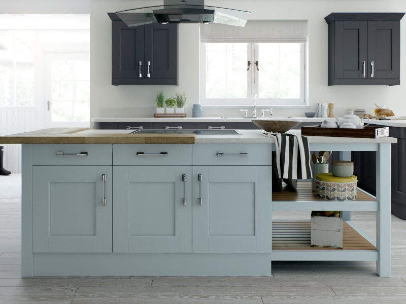 Contemporary shaker kitchen painted in mineral blue and slate grey with quartz and wood worktops