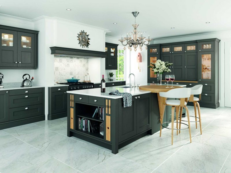 lava grey painted contemporary shaker kitchen full view