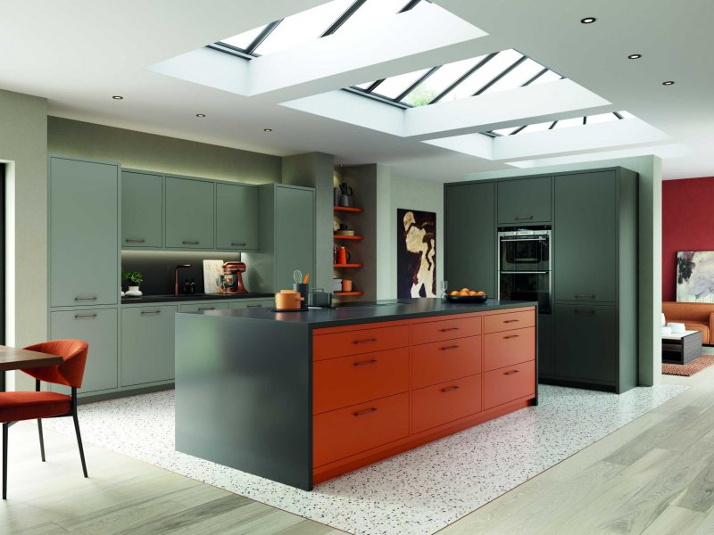 matte orange and graphite modern kitchen complete