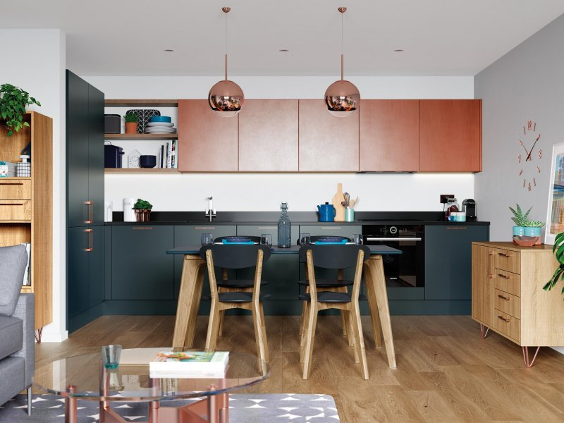 Modern matte finish kitchen - marine and ferro copper colours