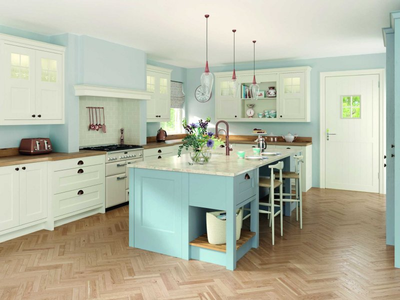 porcelain and pantry blue classic shaker kitchen full view