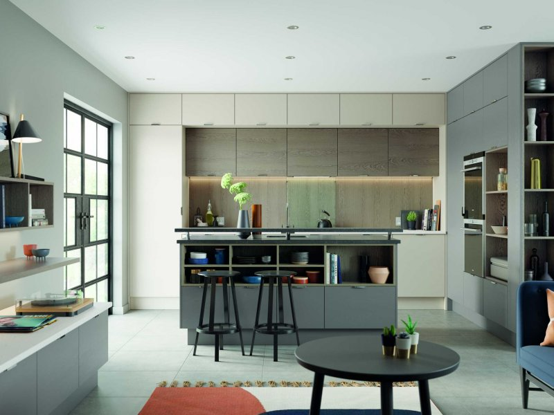 Shell and dust grey modern kitchen full view