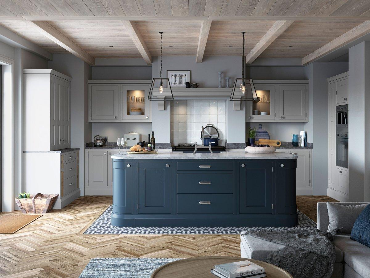Blue And Grey Inframe Shaker Kitchen Og Kitchens