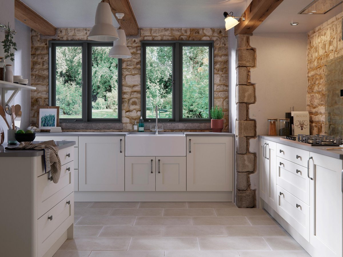 Modern painted country shaker style kitchen   OG Kitchens