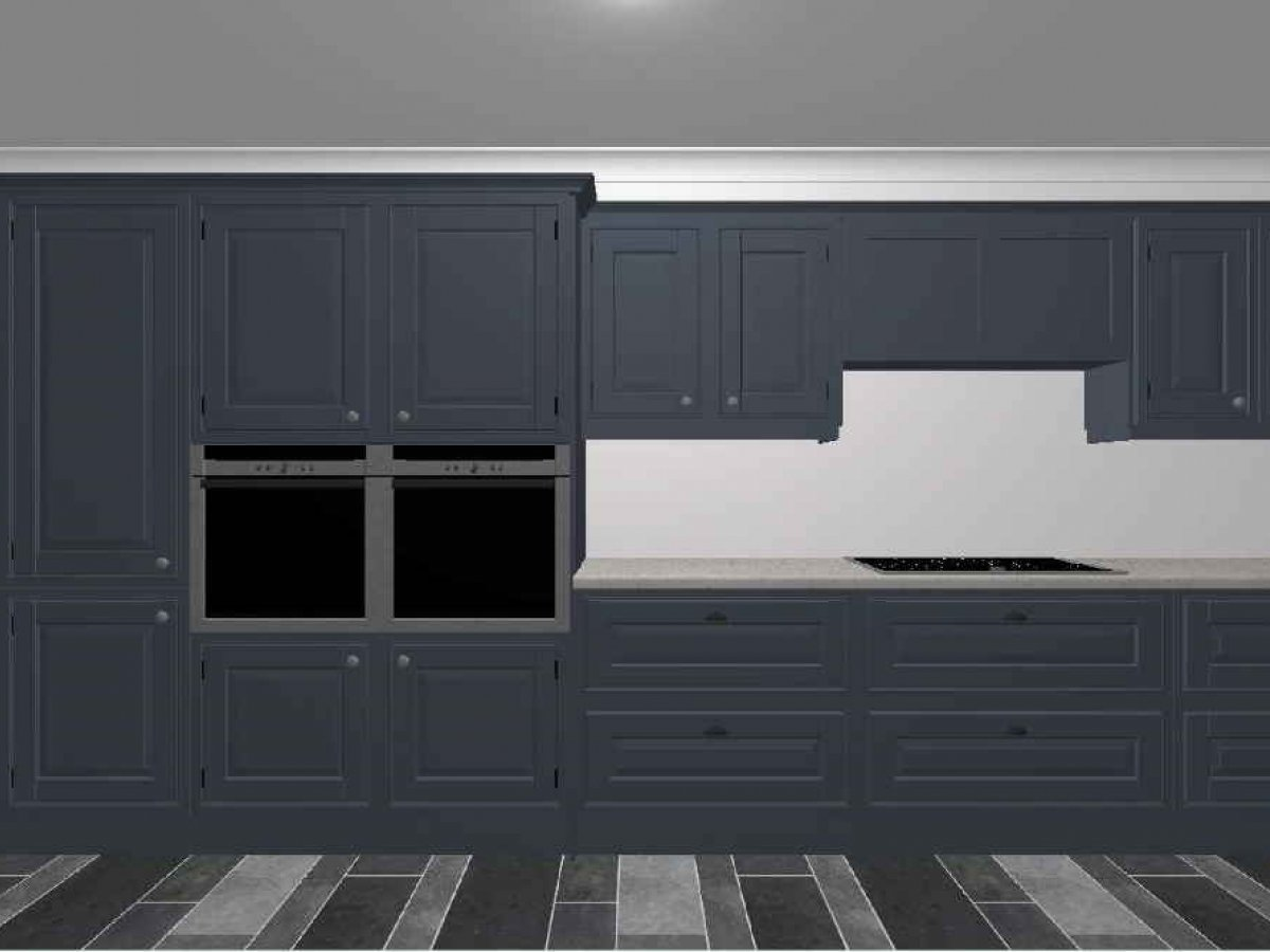 in-frame contemporary shaker galley kitchen backwall