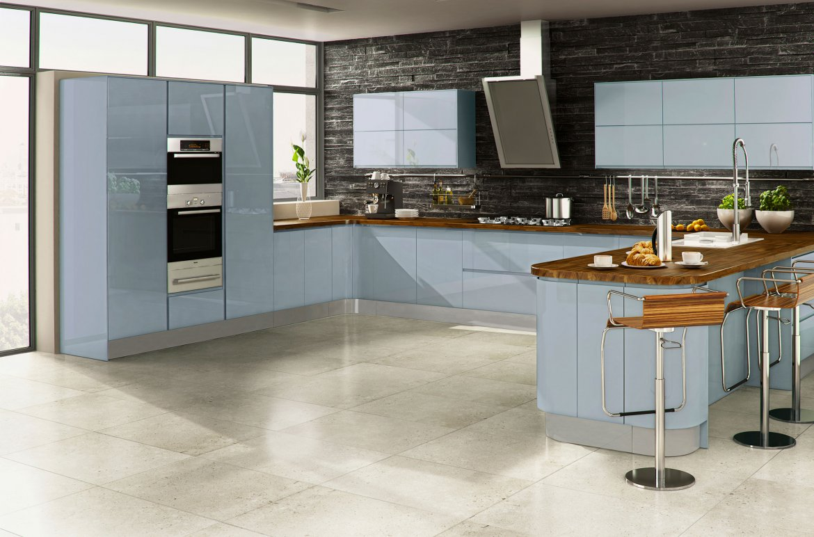 Modern high gloss kitchen - Sky blue units and rish wood worktops