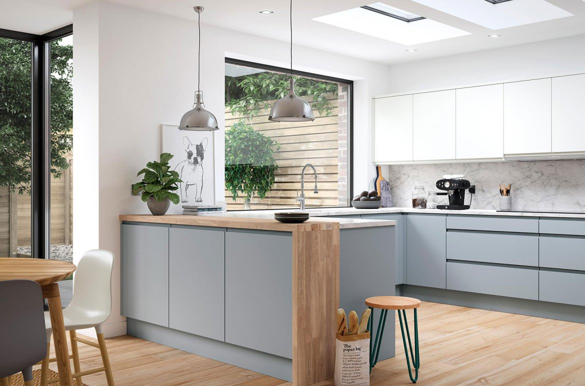 Modern kitchen matt grey and white units