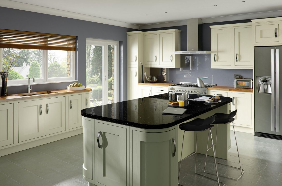 Contemporary in-frame cream painted shaker kitchen