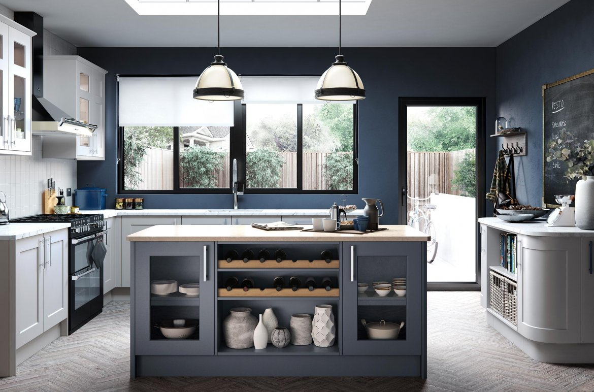 Traditional bepoke painted shaker steel blue and porcelain units light marble worktop
