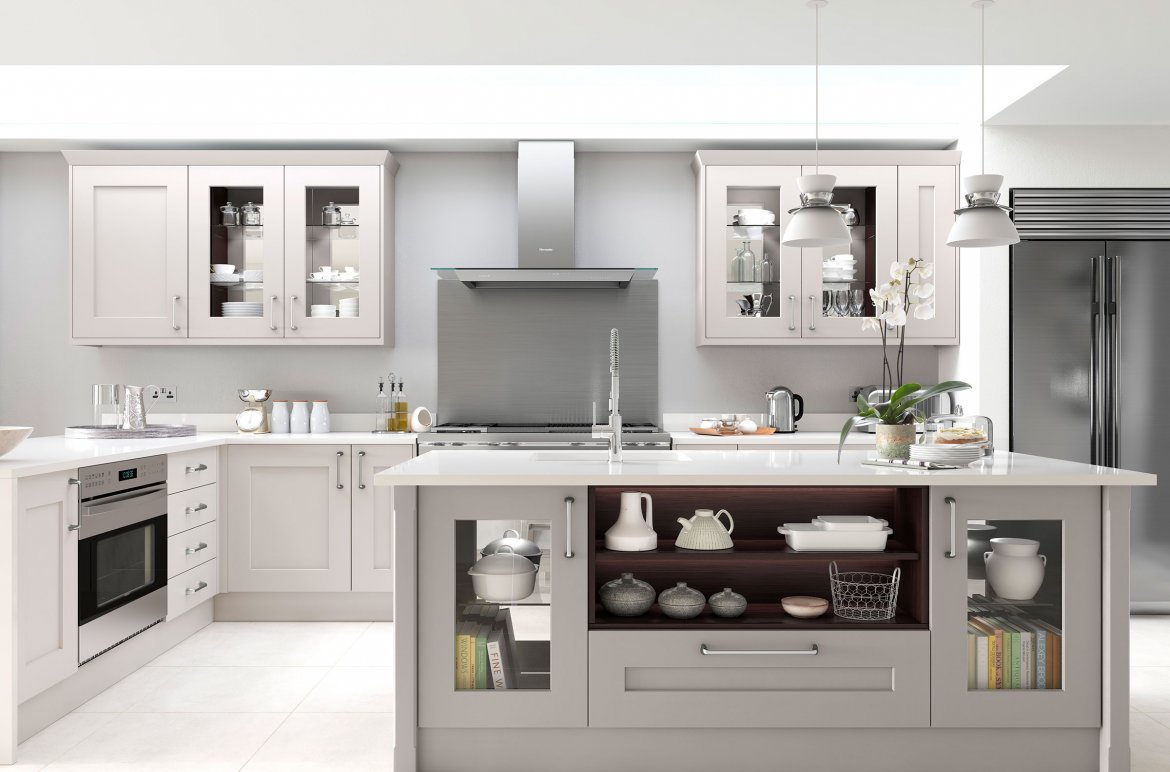 Contemporary dove grey and calico bespoke painted shaker kitchen