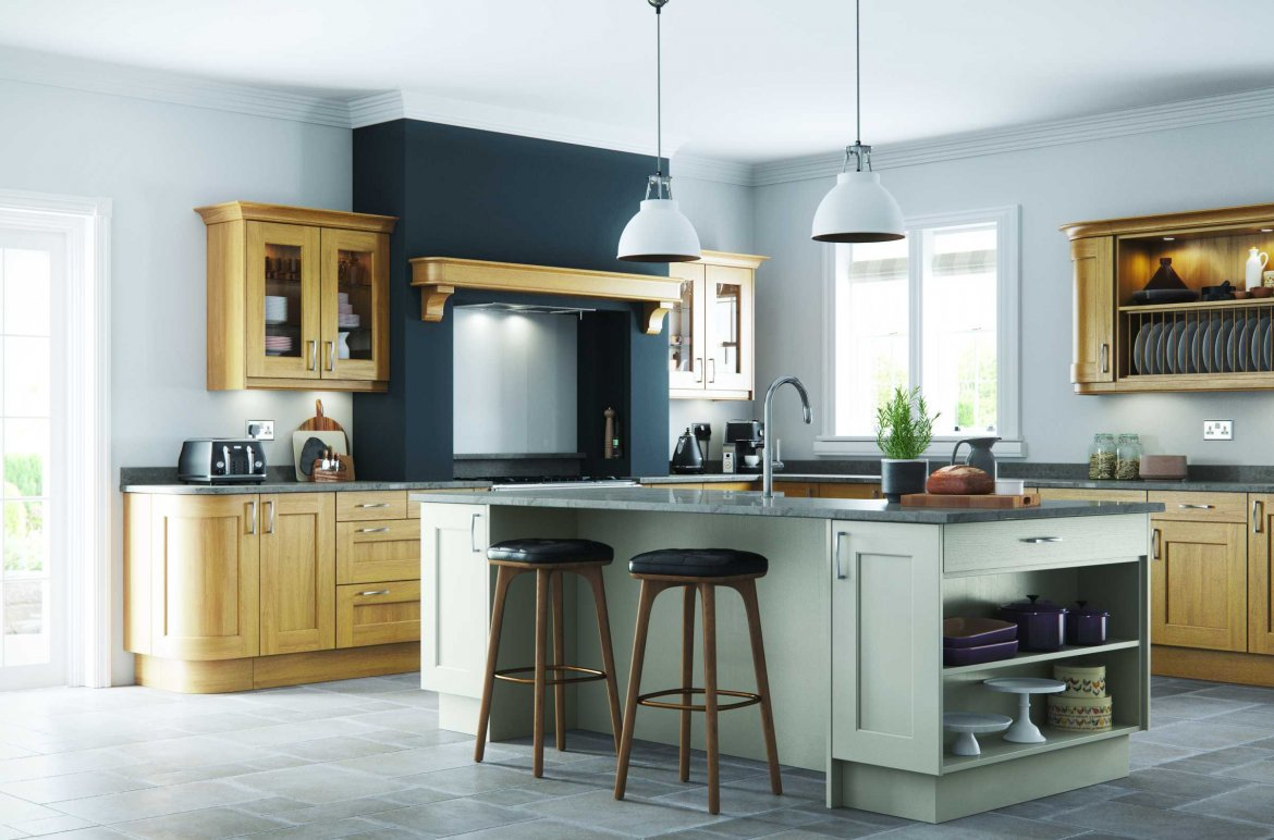 Light oak and stone painted contemporary shaker kitchen full view