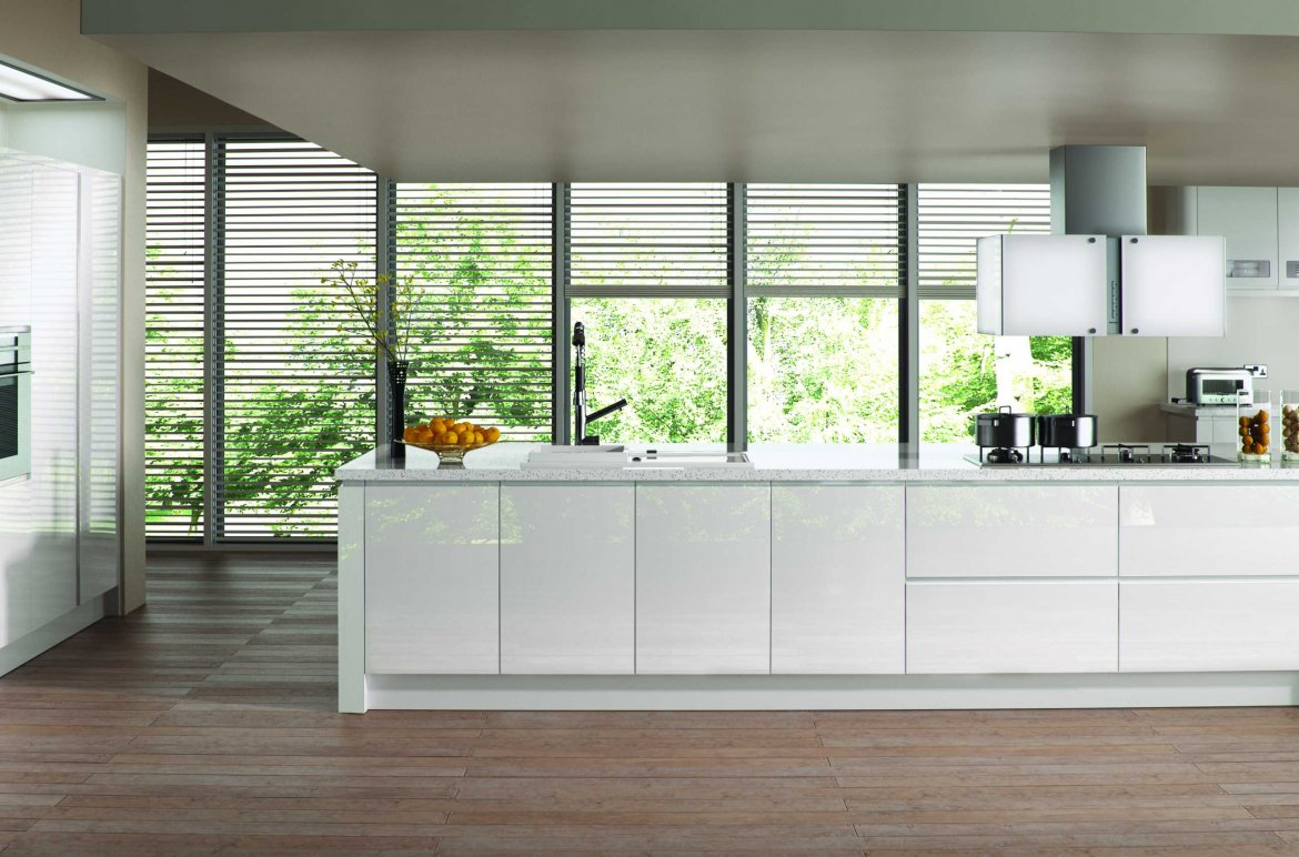gloss white handleless modern kitchen large island