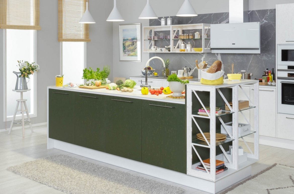 Miinus eco friendly scandanvian style green and white kitchen