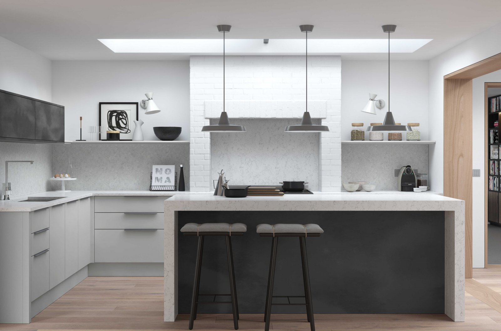 Matt light grey modern style kitchen with black steel look kitchen island