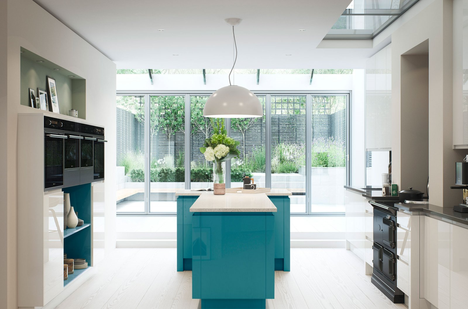 High gloss modern kitchen - bespoke gloss calico and lake como paint palettes