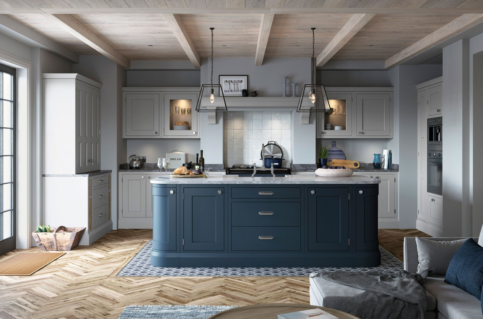 Contemporary in-frame shaker bespoke painted kitchen