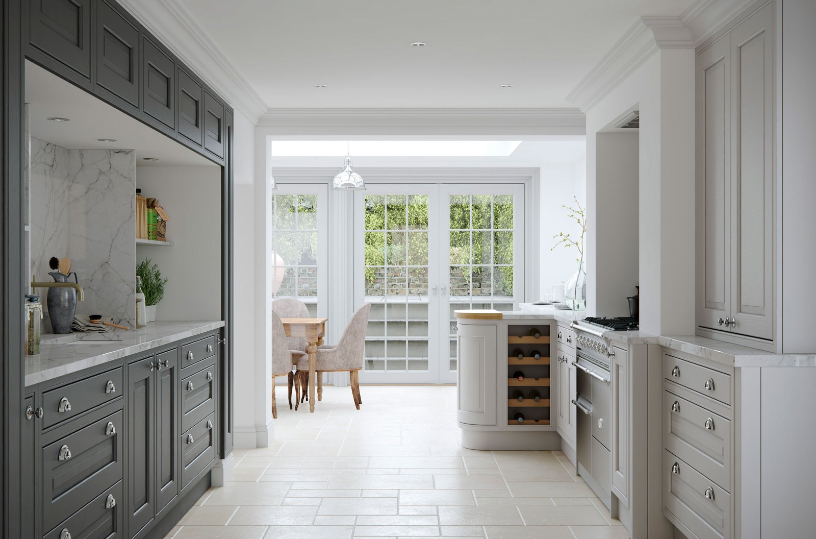 Traditional in-frame bespoke painted ash door kitchen grey units marble worktops