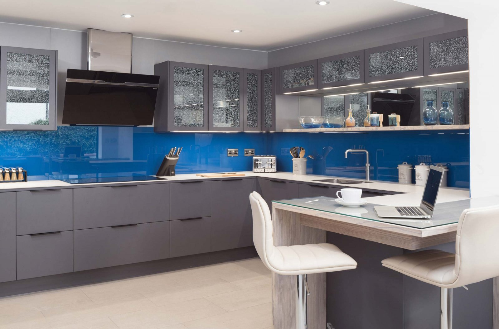 Miinus eco friendly kitchen matt grey units white ceramic worktop and blue ceramic splashback