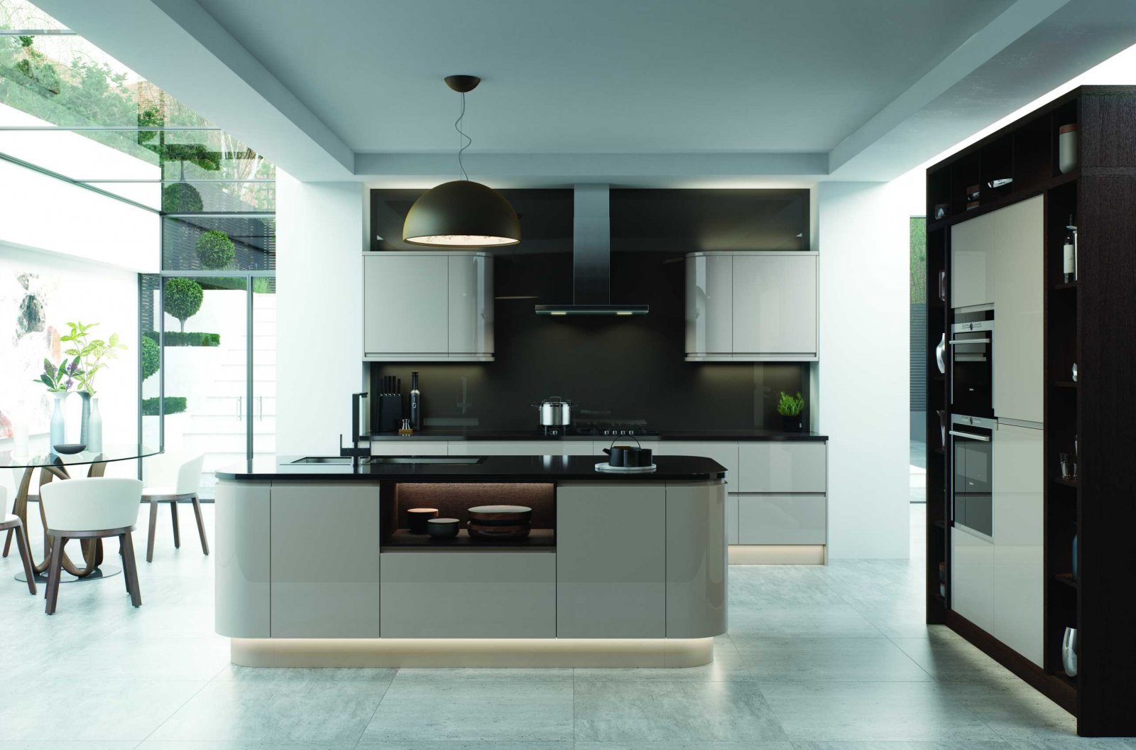 gloss cashmere j profile handleless kitchen full view