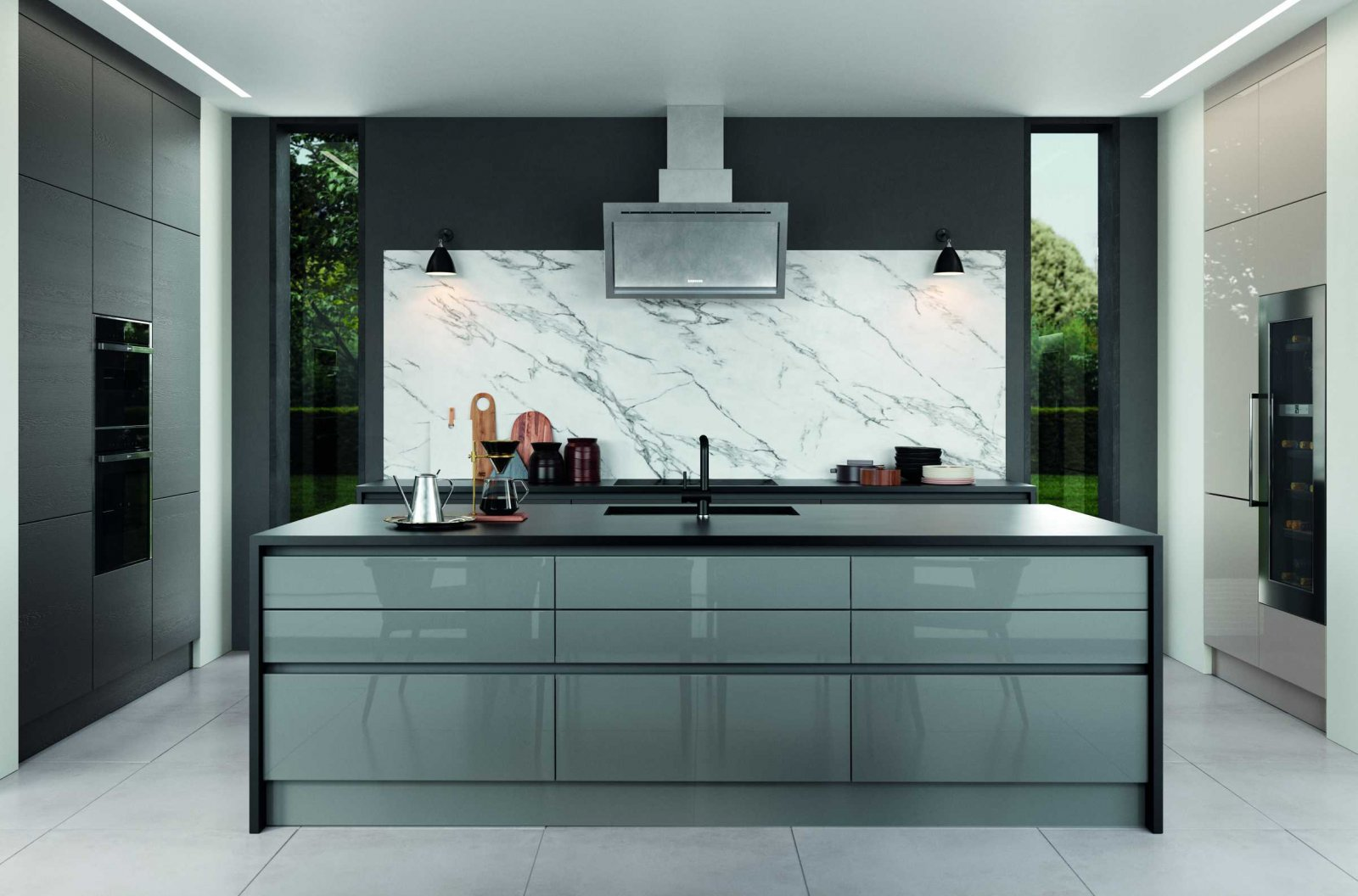 gloss dust grey and cashmere handleless modern kitchen complete