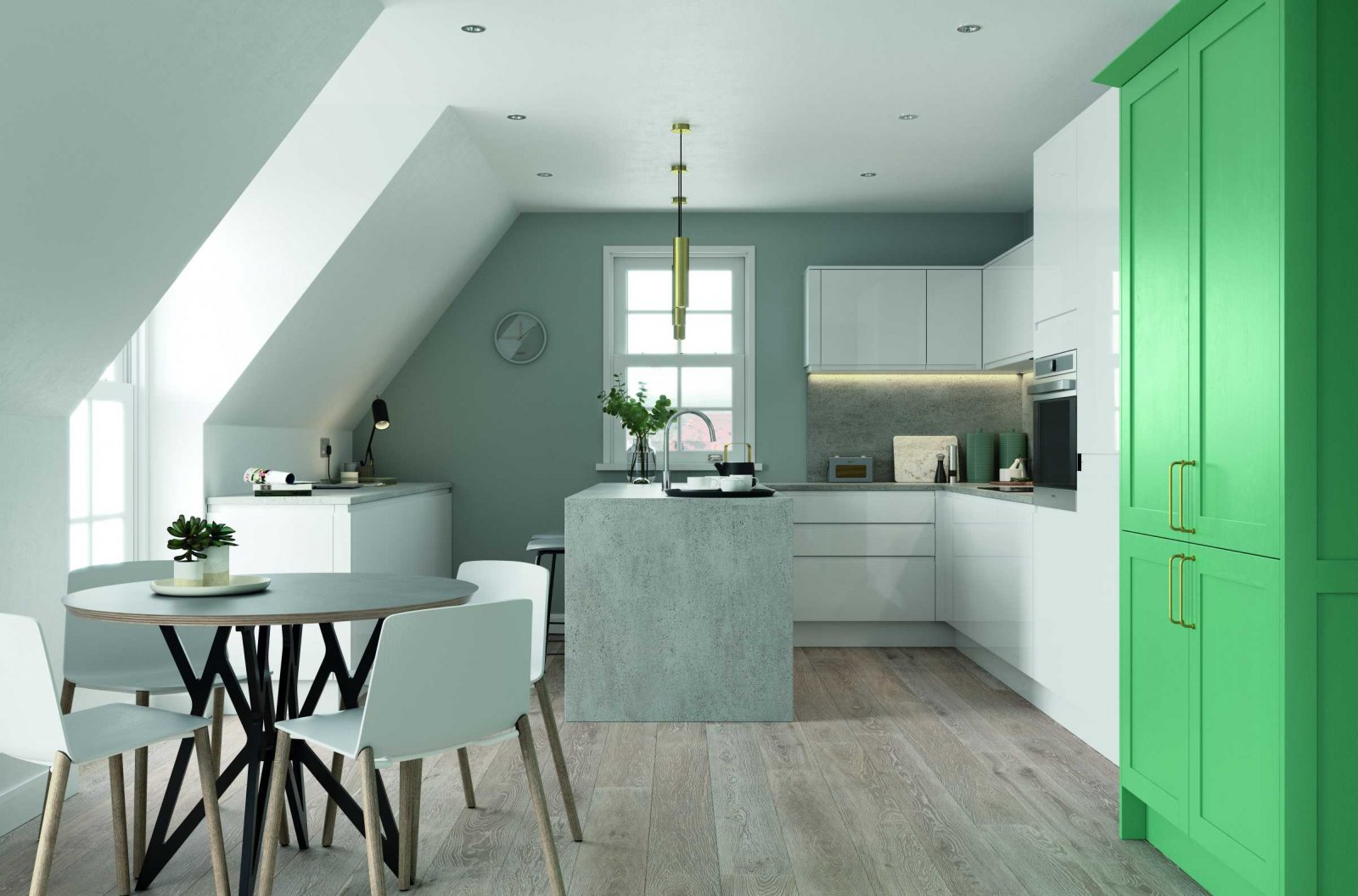 gloss white and green handleless kitchen worktops whole