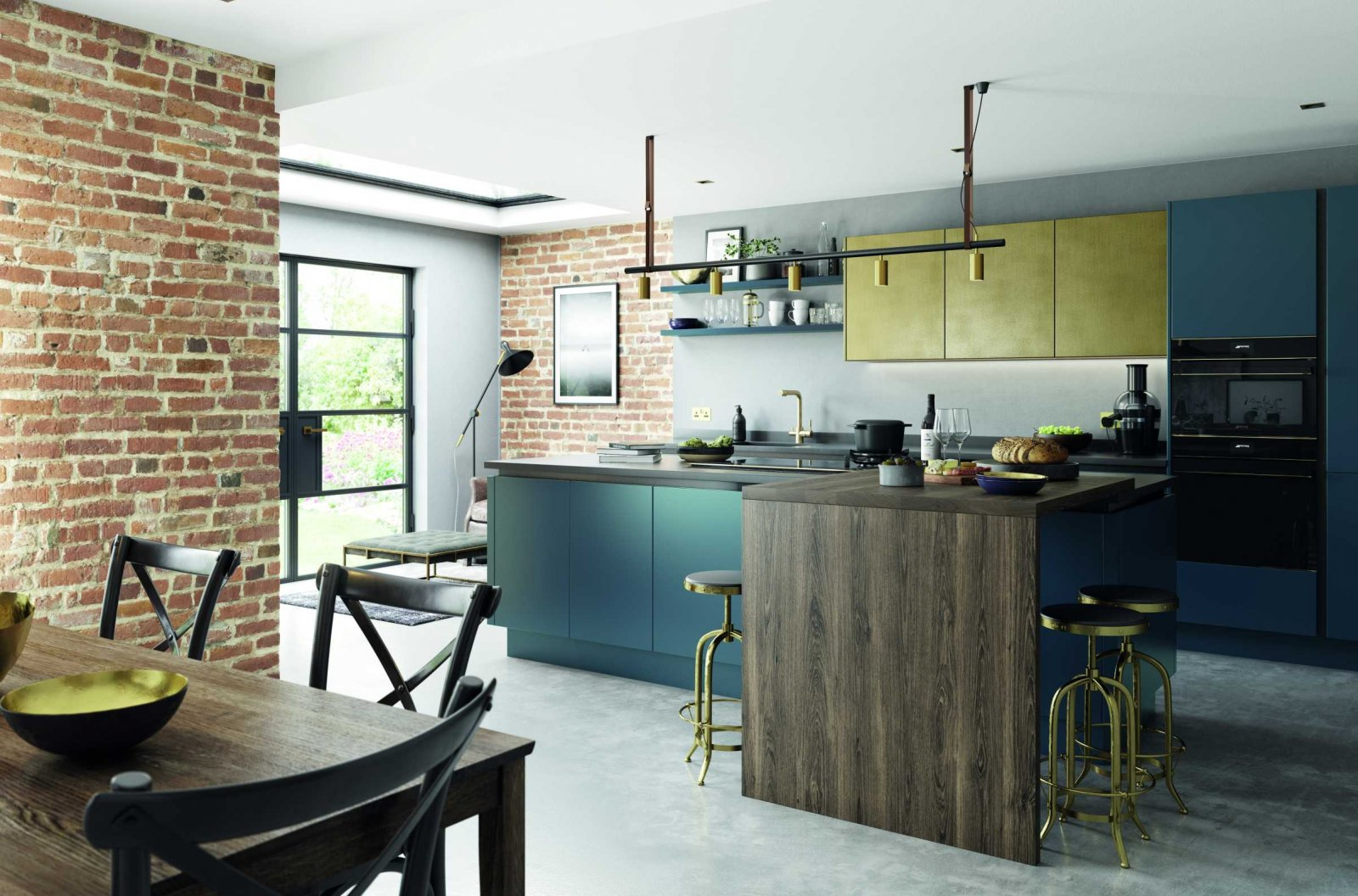 matte blue and brass modern kitchen complete