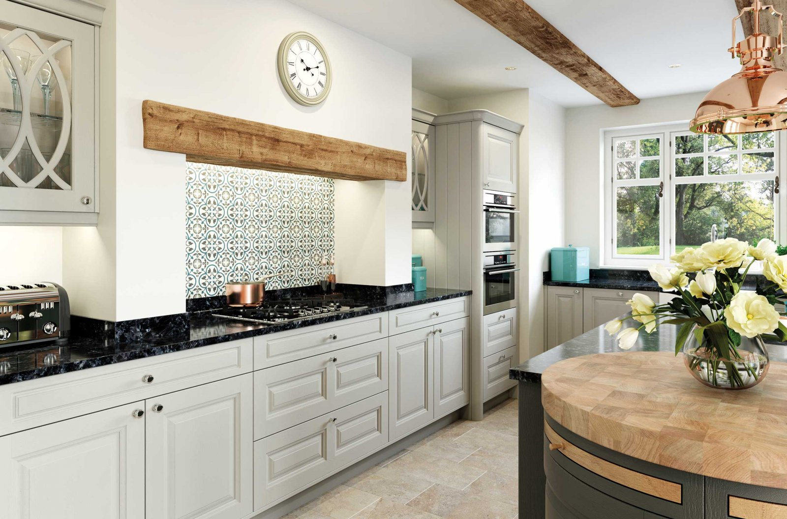 Matte painted stone and gun metal grey country style kitchen full view