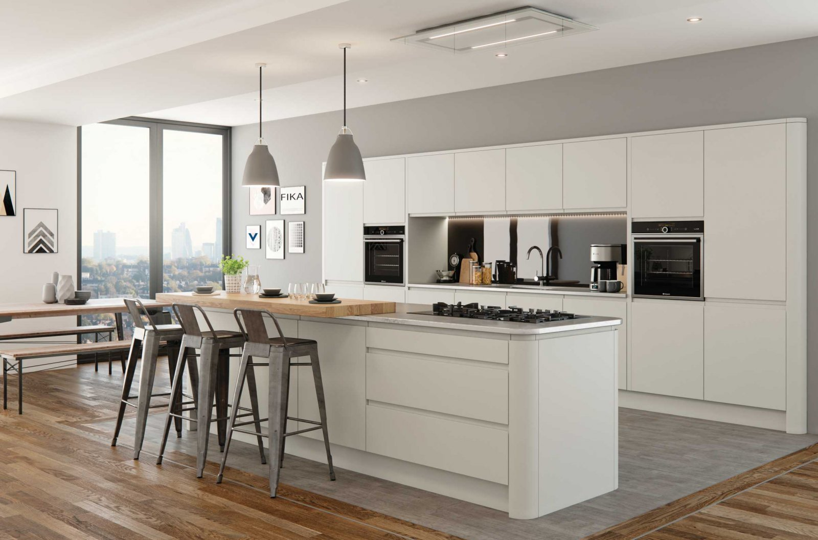 matte white porcelain handleless modern kitchen complete