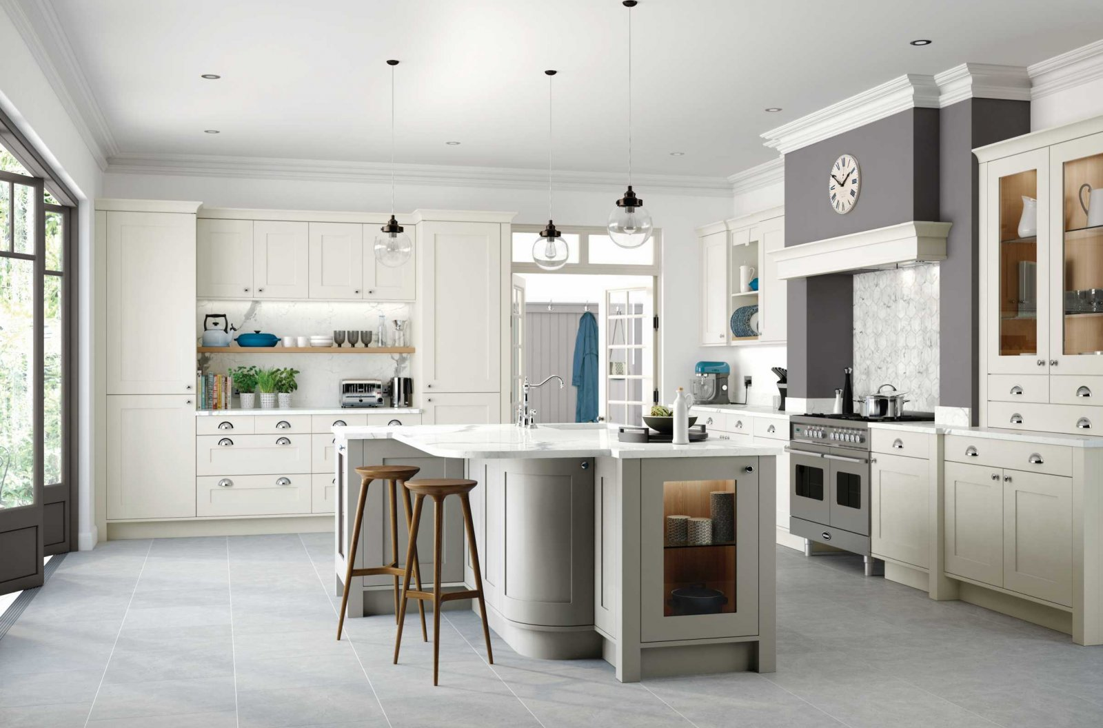 porcelain and stone grey painted shaker kitchen full view