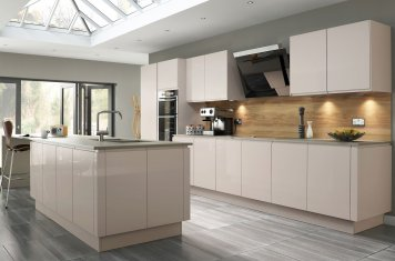 Modern gloss handleless kitchen savanna units duck egg quartz worktops