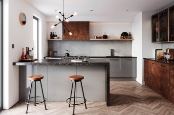Modern mid grey rust and black kitchen