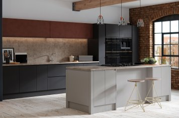 Modern handleless industrial theme colours kitchen