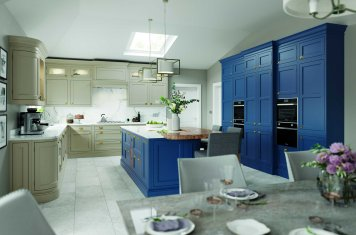 Parisian blue and stone in-frame contemporary shaker kitchen full view