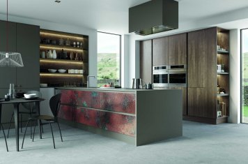 modern handleless kitchen metalic and oak finish full view