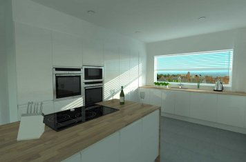 Highest quality render of new kitchen design for cheshire customer
