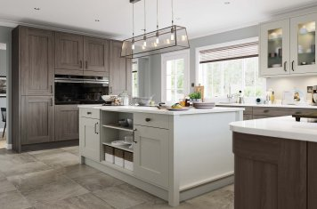 Contemporary shaker style kitchen light grey and anthracite stain main picture