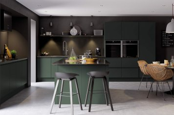 J-Pull handleless kitchen in deep forest green main picture