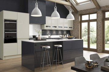 J-pull handleless gloss kitchen graphite and porcelain picture 2