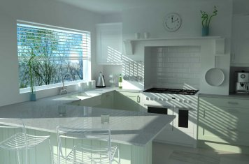 Shaker style kitchen high resolution render