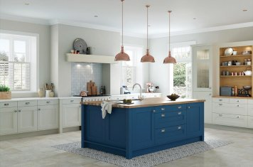 Classic shaker style kitchen painted parisian blue and mussel grey
