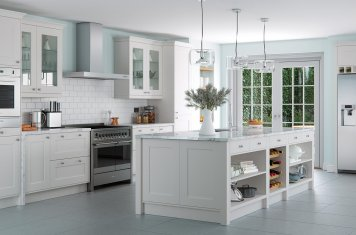 Light grey contemporary shaker style kitchen