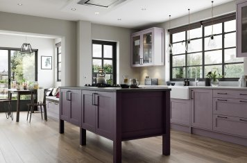 Contemporary skinny shaker door kitchen painted deep heather lavendar grey
