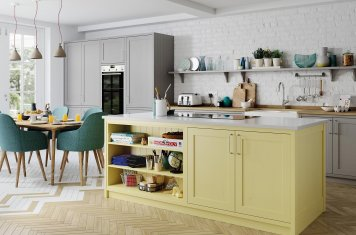 Yellow and dust grey contemporary shaker kitchen