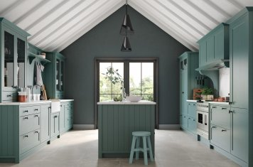 Skinny Shaker Style Kitchen Painted Viridian Green