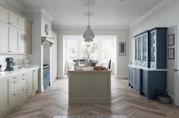 Skinny contemporary style shaker kitchen painted airforce blue and stone main