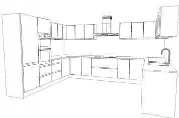 Line drawing of large modern style kitchen