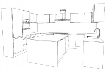 Line drawing of large kitchen with a kitchen island