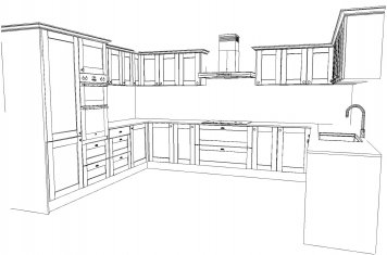 Line drawing of large size traditional style kitchen