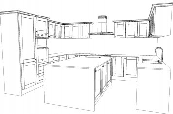 Line drawing of large traditional style kitchen with kitchen island