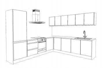Line drawing of medium size modern style kitchen